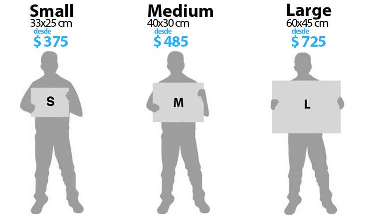 Tamaños y precios de cuadros enmarcados